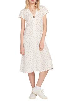 Volcom Read the Room Floral Print Midi Shirtdress
