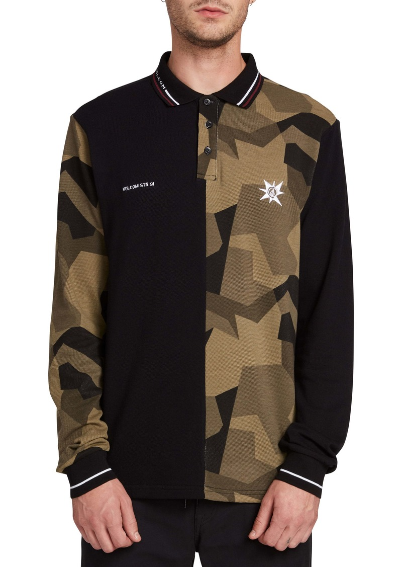 Volcom Split Print Long Sleeve Piqué Polo Shirt