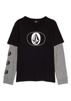 Volcom Stone Stack Twofer Layered Long Sleeve Graphic Tee (Toddler & Little Boy)