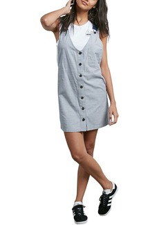 Volcom Stripe Chambray Pinafore Dress