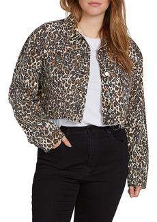 Volcom Super Stoney Leopard Print Denim Jacket (Plus Size)
