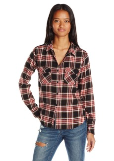 Volcom Women's Cozy Day Cropped Flannel Plaid Shirt  X-Large