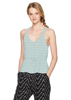 Volcom Women's Deeper Thoughts Buttoned Front Cami Tank Top sea