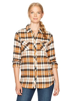 Volcom Women's Desert Fly Long Sleeve Relaxed Yarn Dye Flannel Shirt  XL