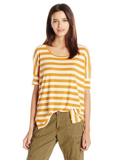 Volcom Junior's Don't Tell Stripe Oversized Crewneck Tee