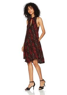 Volcom Women's Fresh Allover Print High Necked Shift Dress  M