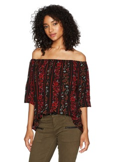 Volcom Women's Fresh AS Off Shoulder Allover Print Top BLC L