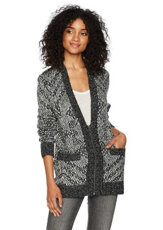 Volcom Women's Grampaw Zip up Cardigan with Jacquard Pattern  L