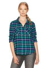 Volcom Women's New Flame Long Sleeve Flannel Vintage Inspired Shirt MNG L