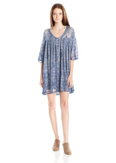 Volcom Junior's Shutterbug Printed Babydoll Shirt Dress