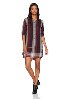 Volcom Women's Well Long Sleeve Plaid Button Down Dress  L