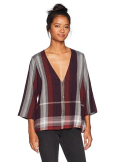 Volcom Women's Well Plaid Button up Throw Top  L