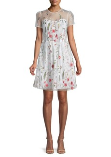 Walter Drew Embroidered Floral Lace Dress