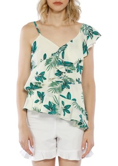 Walter Ruffle Palm Printed One-Shoulder Top