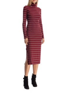 Walter Baker Carmella High Neck Ribbed Cotton Dress