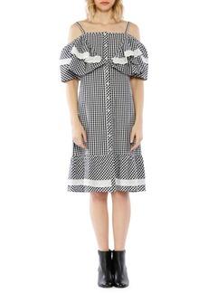 Walter Baker Gingham Cold-Shoulder Cotton Dress