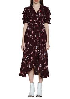 Walter Baker Havana Fit & Flare Midi Wrap Dress