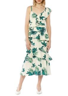 Walter Baker Palm Printed One-Shoulder Ruffle Dress