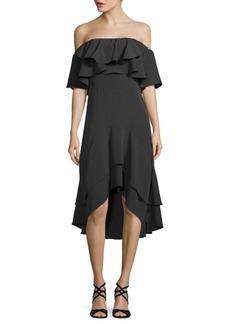 Walter Patti Ruffled Off-The-Shoulder Dress
