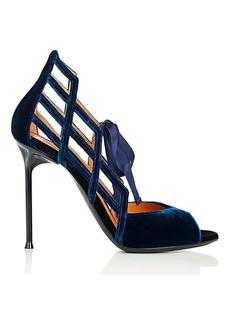 Walter De Silva Women's Cutout Velvet Ankle-Tie Sandals