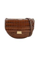 Wandler Anna Croc Embossed Leather Shoulder Bag