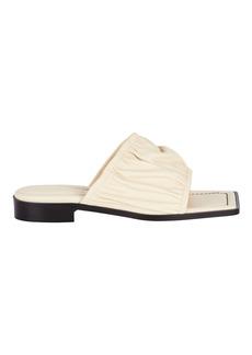 Wandler Mila Ruched Leather Slide Sandals
