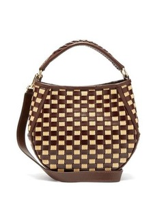 Wandler Corsa mini woven raffia and leather tote bag