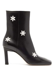 Wandler Isa flower-embellished leather ankle boots