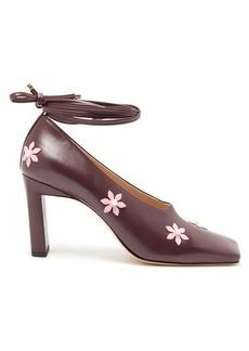 Wandler Isa flower-embellished square-toe pumps