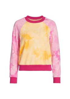 Warm Two-Tone Tie Dye Crew Sweatshirt