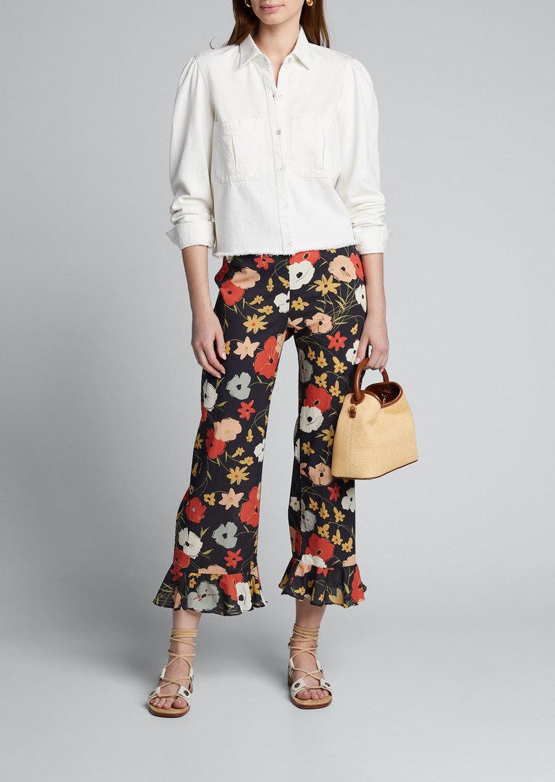 Warm Floral Print Cotton Flare-Pants
