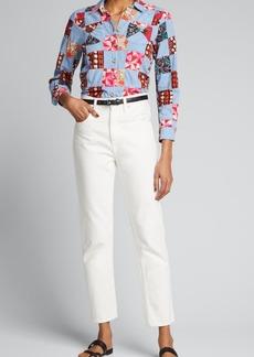 Warm Ripple Patchwork Button-Down Shirt