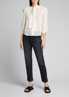 Warm Wonderful Tie-Neck Eyelet Blouse
