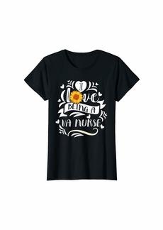 Warm Womens I Love Being A VA Nurse Gifts Hippie Floral T-Shirt