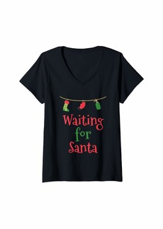 Warm Womens Waiting For Santa Claus Christmas 2020 Social Distance Gift V-Neck T-Shirt
