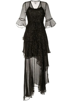 We Are Kindred Arabella metallic striped tiered dress
