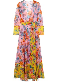 We Are Leone Floral-print Silk-chiffon Robe