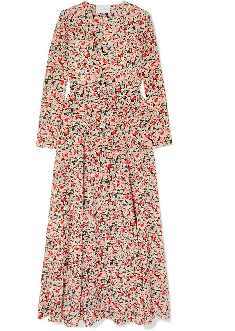 We Are Leone Floral-print Silk Crepe De Chine Robe