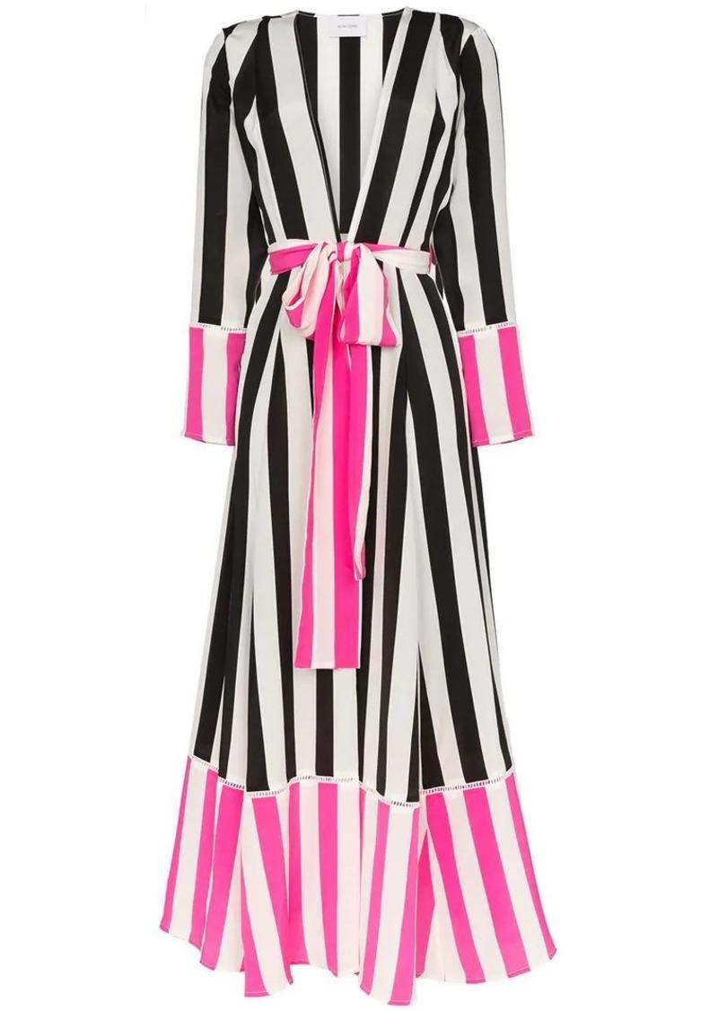We Are Leone striped belted silk kimono jacket