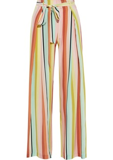 We Are Leone Woman Luke Belted Striped Silk Crepe De Chine Wide-leg Pants Multicolor