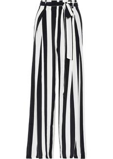 We Are Leone Woman Luke Belted Striped Silk Crepe De Chine Wide-leg Pants White