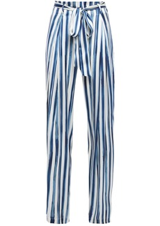 We Are Leone Woman Luke Belted Striped Stretch-silk Satin Wide-leg Pants Ivory