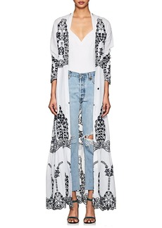 WE ARE LEONE Women's Cotton Eyelet Maxi Cardigan Top