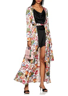 WE ARE LEONE Women's Floral Silk Charmeuse Robe