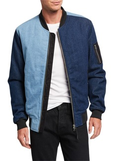 WESC Men's Colorblock Denim Bomber Jacket