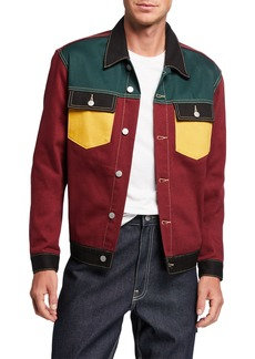 WESC Men's Colorblock Denim Jacket