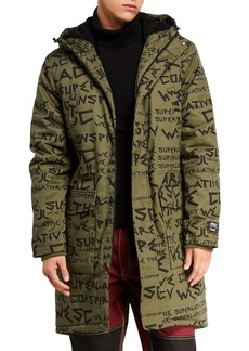 WESC Men's Fishtail-hem Graphic-Pattern Parka Coat