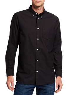 WESC Men's Oden Solid Contrast-Button Sport Shirt