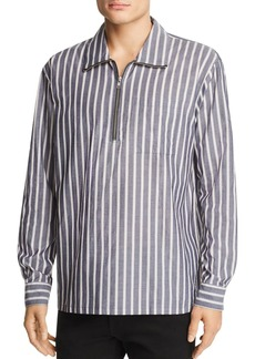 WeSC Banks Striped Half-Zip Regular Fit Pullover Shirt