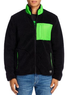 WeSC Moritz Mixed-Media Sherpa Slim Fit Fleece Jacket